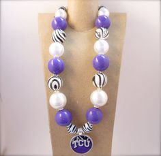 TCU Game Day Necklace by Dizzybows on Etsy, $25.50