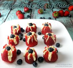 Cheesecake Berry Bites Recipe is an easy, delicious appetizer to serve on the Fourth of July | Busy-at-Home