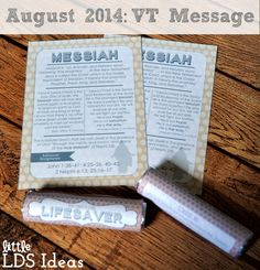 {Visiting Teaching} August 2014 Visiting Teaching Message- The Divine Mission of Jesus Christ: Messiah. Free VT Printable from Little LDS Ideas