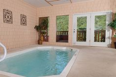A Collection of Incredible Indoor Pool Designs : Cool Small Indoor Pool Design with Plants and Nature Views
