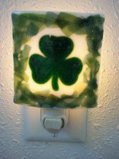 NIGHTLIGHT - Irish Shamrock Fused Glass Nightlight. $15.00, via Etsy.