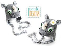 Handmade Crochet Rhino Rhinoceros Animal Hat For All Ages