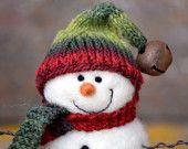 Snowman-  handmade Needle Felted wool Snowmen - Christmas Decor - 298