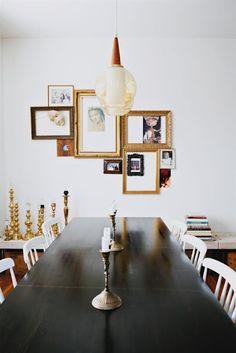 decor, interior, idea, dine room, frames, art, display, hous, wall