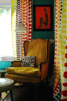 Really distinctive, slender arms make this chair more than just another mustard wingback.