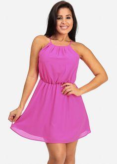 Neon Pink Lined Halter Dress