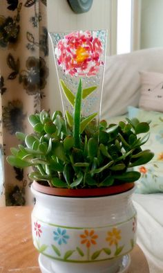 Fused Glass Plant Stake Precious Pink Peony Plant by KarmaBeads, $20.00