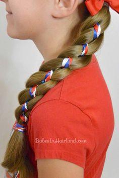 Ribbon Braid in a 4 Strand Braid from BabesInHairland.com #4thofjuly #july4th #redwhiteandblue #ribbon #braid #4strandbraid