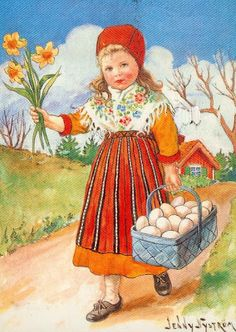 Scandinavian girl with Easter basket and flowers.  Repinned by www.mygrowingtraditions.com
