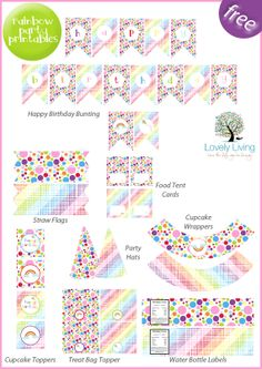 Free!!! Party Printable Collection - Rainbow - Lovely Living - Love The Life You're Living