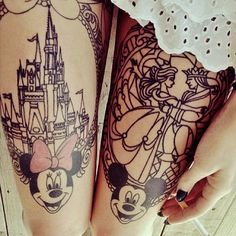 thigh tattoos, mickey mouse, minnie mouse, disney castles, a tattoo, disney tattoos, the beast, stained glass, ink