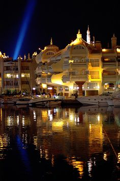 Night marina lights, Malaga, #Andalusia, #Spain. http://VIPsAccess.com