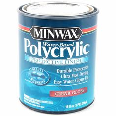"blogger Bryn Alexandra writes: ""Buy Minwax Water-Based Polycrilic protective finish. The exact stuff from the picture above. I have purchased so many different types of poly's... water based, wipe on poly, regular poly, even those that claim to be completely clear... They all leave ugly yellow stains on your furniture. This is the only poly that leaves your white actually white and not off white. Trust me on this.    I've used both foam brushes and paint brushes for the poly step; ..."""