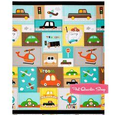 Vroom Aqua and Orange Patchwork Yardage SKU# 12831-195 - Fat Quarter Shop