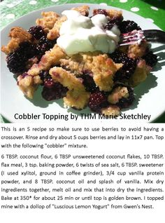 Cobbler Topping for Berries!