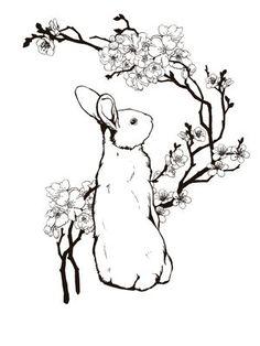 art inspir, book-inspired tattoos, tattoo idea, bunny rabbit tattoo, rabbit tattoos, fire rabbit, bunni rabbit, bunni tattoo, cherry blossoms
