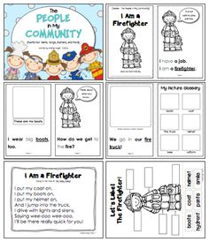 "LINK to item:  http://www.teacherspayteachers.com/Product/The-People-in-My-Community-Student-Books-Songs-and-Labeling-Posters-772241  ""The People in My Community"" provides student books (including sight words and key vocabulary), fun songs, and labeling posters for several jobs, such as firefighters, police officers, soldiers, doctors, and more.  (61 pages, $)"