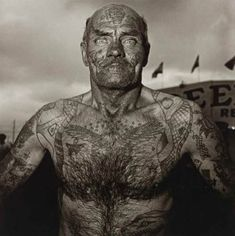 """""""Tattooed man at a carnival, Md.,1970"""" Diane Arbus. Photo sold at auction for $ 50,400 in 2006. tattooman, carnivals, dian arbus, art, diane arbus, tattoo man, photography, photographi, dianearbus"""
