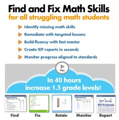 Moby Math - Math Success for Special Education, RTI and General Ed - Kids take preassessment and it generates lessons based on student need