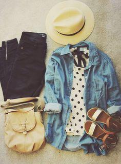 polka dots, casual outfits spring, denim shirts, spring fashion outfits casual, travel style, spring outfits, black pants, travel outfits, hat