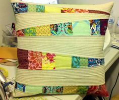 pillow: pieced & quilted. gorgeous & colorful  Finished!!! by Euphoria..., via Flickr