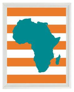 Africa Map Nursery Wall Art Print  - Teal Orange Stripes - Children Room Geography Home Decor  8x10