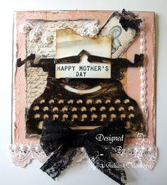 Vintage Typewriter Cards - using Tim Holtz vintage typewriter die