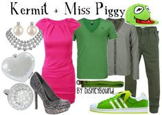 Muppet inspired clothing by DisneyBound. Kermit & Miss Piggy. Pink dress.