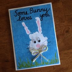 Handprint bunny.  Original idea from  http://diapers-to-diplomas.blogspot.com/2011/04/handprint-ideas-for-easter.html