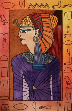 Egyptian god and/or goddess portraits. Teaching how to draw in profile. Combine with Egyptian hieroglyphs that spell words.