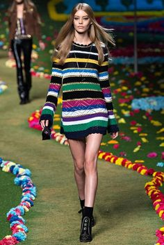 A mod knit-and-crocheted dress from Tommy Hilfiger's Spring 2015 Ready-to-Wear NYFW show. An all-crochet version would be an awesome way to play with color AND showcase a range of stitches.