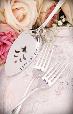 """Mr. and Mrs. Hand Stamped Silverware Forks and Fleur """"Let's Eat Cake"""" Silver Cake Server on Etsy.com. Click on picture for ordering."""
