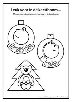 kerst knutselideeën, kleuter, je eigen, frokki en, en lola, kerst kleurplaten, kerstballen
