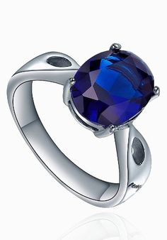 Stainless Steel Oval Blue Cubic Zirco... for only $5.99