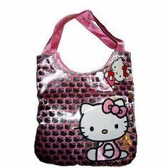 Sanrio Hello Kitty Girls Silver Glittering Sequin Handbag Bag Tote Purse --- http://www.pinterest.com.itshot.me/5jv