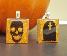 "Cute Halloween scrabble tile pendants from our set ""Halloween Glow"" - Mango and Lime Desgin"