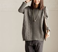 2colors Loose wool long sweater/Large size long knitted sweater/Round collar pull overt/softfashion55