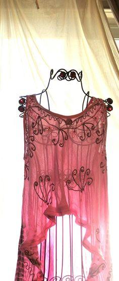 Pink Bohemian Girl Tunic Shirt Long uneven by TrueRebelClothing, $54.00