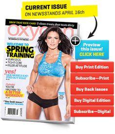 Amanda Latona on the cover of Oxygen--I like the blue bra/black shorts colour combo! #fitness #motivation #workout