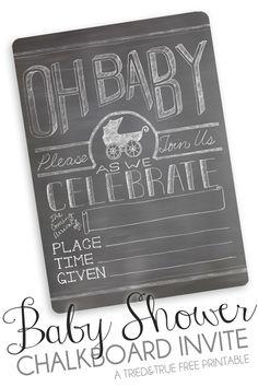 Free Printable Chalkboard Baby Shower Invite