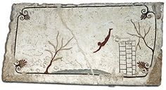 Tomb of the Diver. He plunges headfirst from a spare platform into what looks to be little more than a puddle. But he's likely not engaged in an athletic pursuit—he's leaping from life into death. The painted slab (top), comes from the Tomba del Tuffatore, or the Tomb of the Diver, a burial discovered in 1968 about a mile south of Paestum. The tomb, which dates to around 480 B.C., is unique in the Greek colonies in Italy.