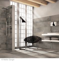 Acustico Porcelain - Grey Natural 24'' x 24'', 12'' x 47'', 4'' x 24'', from Walker Zanger