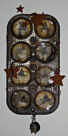 Altered Art - Vintage Muffin Tin - Halloween - Coven - Kitchen Witches