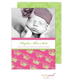Modern Posh Princess Baby Girl Photo Birth Announcement in pink and green to announce your new little pricess