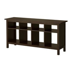 """Hemnes"" black sofa table from Ikea ($180)."
