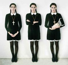 holiday, diy ideas, halloween costume ideas, diy halloween costumes, dress, black boots, costum idea, wednesday addams, halloween ideas