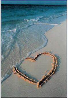at the beach, sand heart