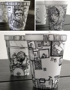 """I love this is an """"impromptu"""" assignment for my high school & college students!  Sharpie on Styrofoam cups."""
