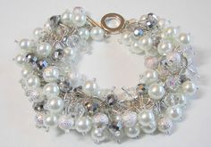 Sparkling Silver and White Wedding Bracelet, Pearl and Crystal Cluster Bracelet, Bridal Party Gift
