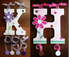 Letter hair barrette holders